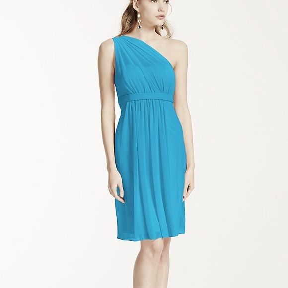 David\'s Bridal Dresses | Davids Bridal Blue Short Dressone Strap ...